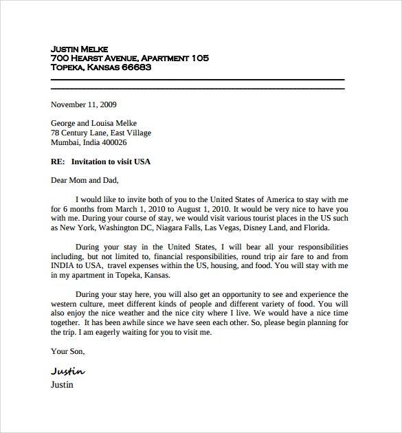 Sample Invitation Letter For Us Visitor Visa Google Search