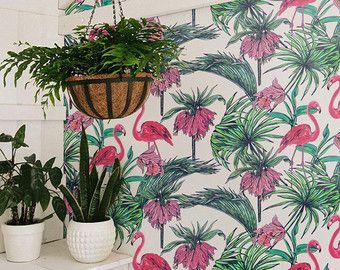 PINK FLAMINGO wallpaper Tropical removable wallpaper Exotic
