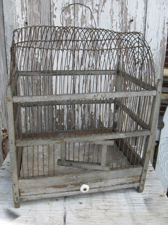 Antique wood and wire birdcage by oldetymemarketplace on Etsy, $115.00