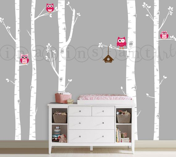 Owls and Birch Tree Forest Wall Decal, Birch Trees, Birch Forest, Birch Tree Owl Wall Vinyl for Nursery, Kids or Childrens Room 006 on Etsy, $75.00