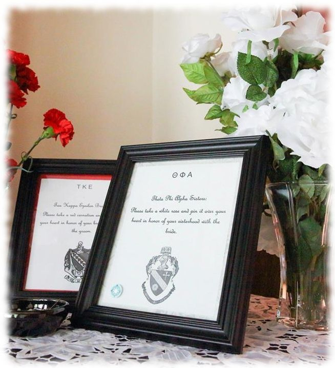 """Greek wedding idea: """"Please take a white rose and pin it over your heart in honor of your sisterhood with the bride."""" with your Fraternity/Sorority flower, Greek letters at the top and emblem at the bottom."""