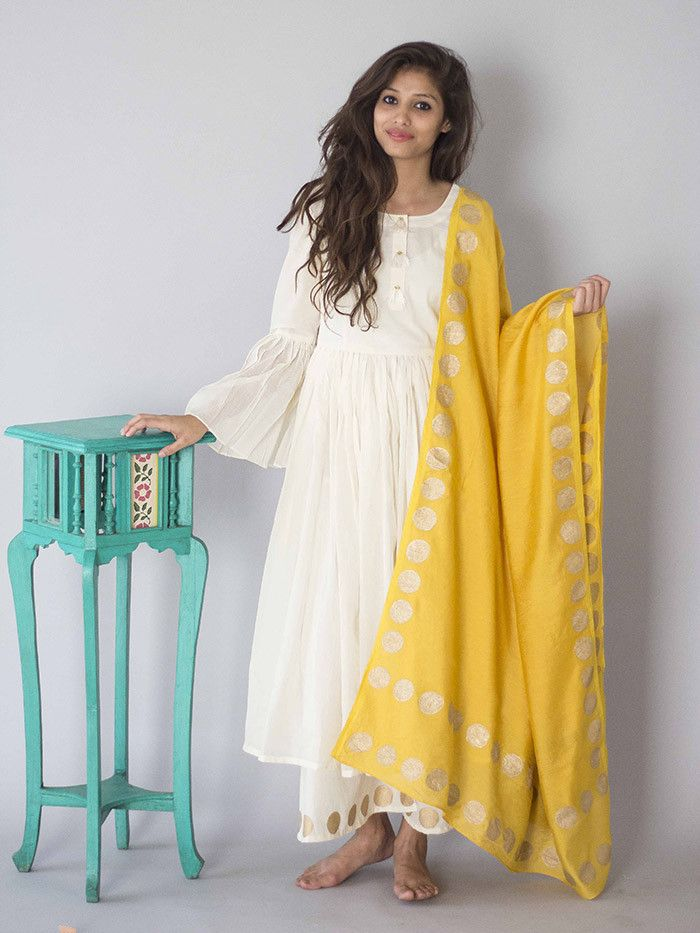 Off White Cotton Anarkali Suit  - Set of 3