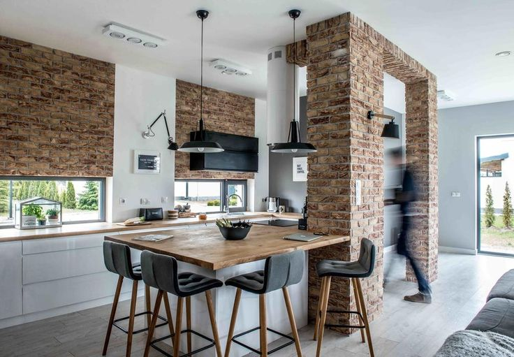 Nowoczesne wnętrze kuchni z jadalnią
