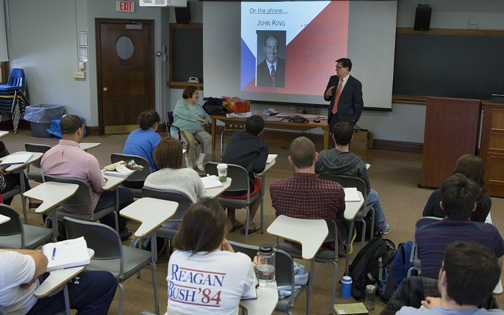 """In their """"Elections and Campaigns"""" class, Professor of Political Science Iva Deutchman and President Mark D. Gearan lead a conversation between their students and journalist John King. The CNN Chief National Correspondent telephoned the class on Thursday morning to offer his insights into the Presidential race."""