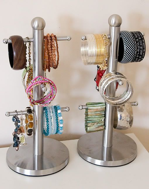 Organise your bangles on mug trees.  I've done this for years!  They're also good to hang shorter necklaces from.