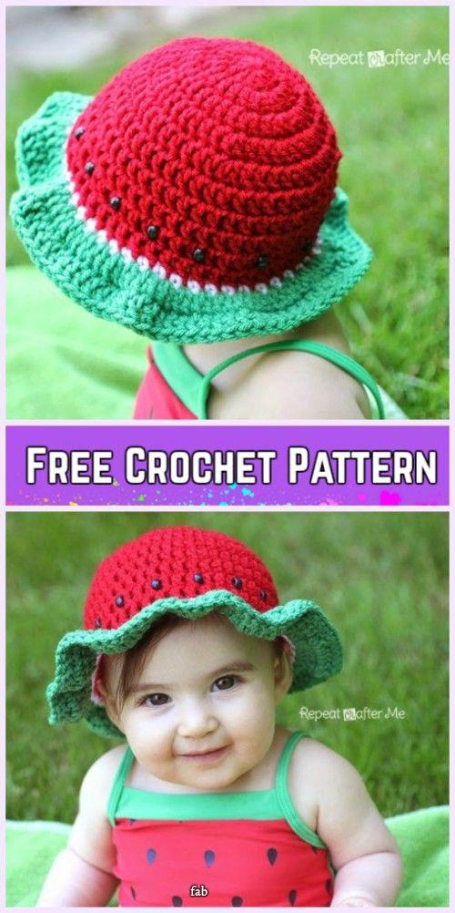 Crochet Little Girls Sun Hat Free Patterns - Crochet Watermelon Sun Hat Free Pattern