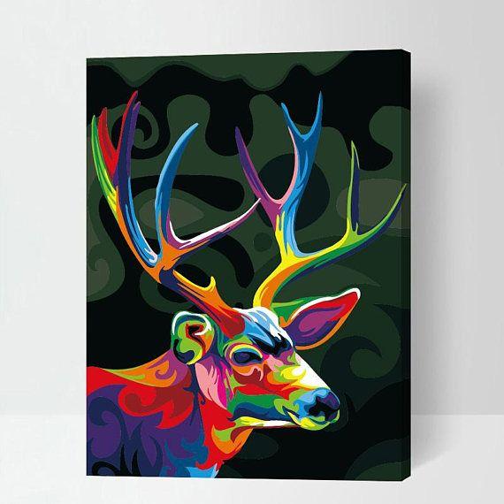 Rainbow Animals Paint By Number Kit Diy Digital Oil Painting Etsy Deer Painting Colorful Oil Painting Cross Paintings
