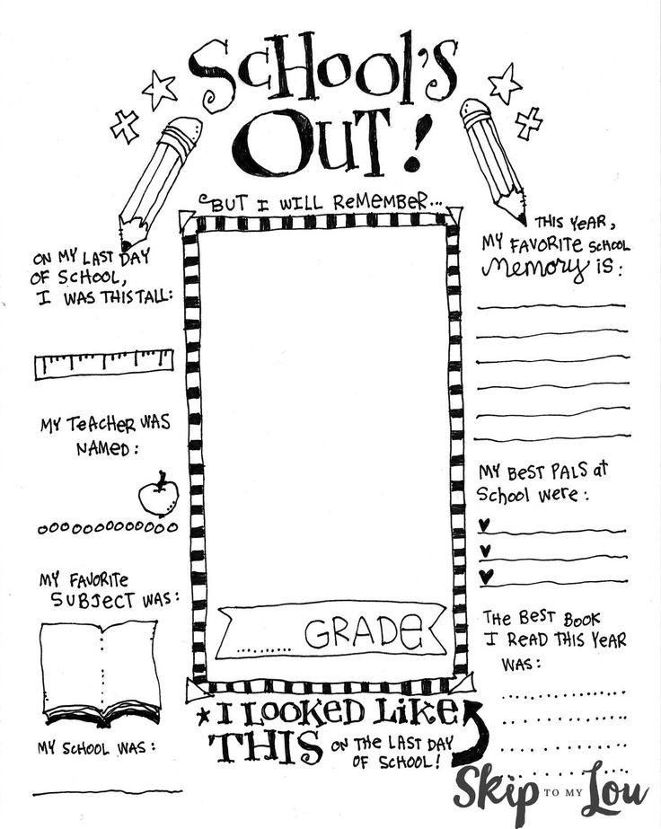 An End of School Memory Printable is a great way to record the school year and makes a wonderful keepsake. Children even can draw a self portrait! Too Cute!