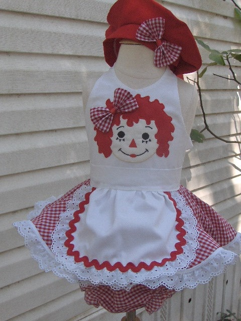 Raggedy Ann custom halloween outfit pageant wear. $75.00, via Etsy.