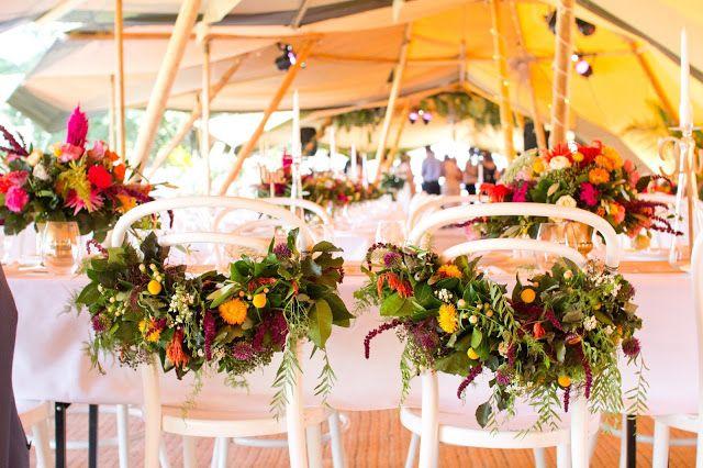 { Naomi Rose Floral Design } Boho wedding | Floral bride & groom chairs | Wedding | Tipi wedding | Bright Flowers