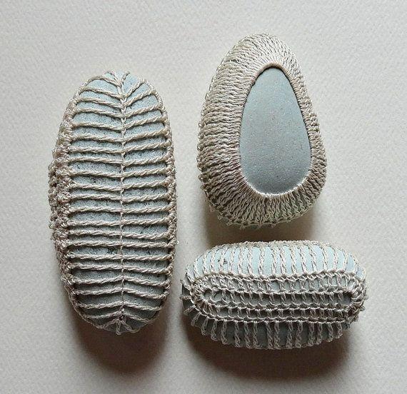 Miniature Art Crochet Lace Stone Original Handmade Tiny by Monicaj,