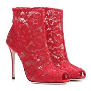 Dolce & Gabbana Lace Open-Toe Ankle Boots