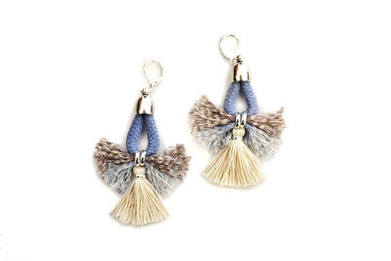 Tribal Earrings Tassel Earrings Blue and White by gudbling on Etsy