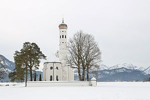 Template:Potd/2015-10 - Wikimedia Commons Winter landscape of St Coloman church (de), located in Schwangau, Bavaria, southern Germany. St Coloman church is of baroque style and was constructed, the way it is today, in the 17th century in honor to Saint Coloman, replacing a chapel of the 15th century. The irish pilgrim is said to have taken a break at this spot in his pilgrimage to the Holy Land in 1012.