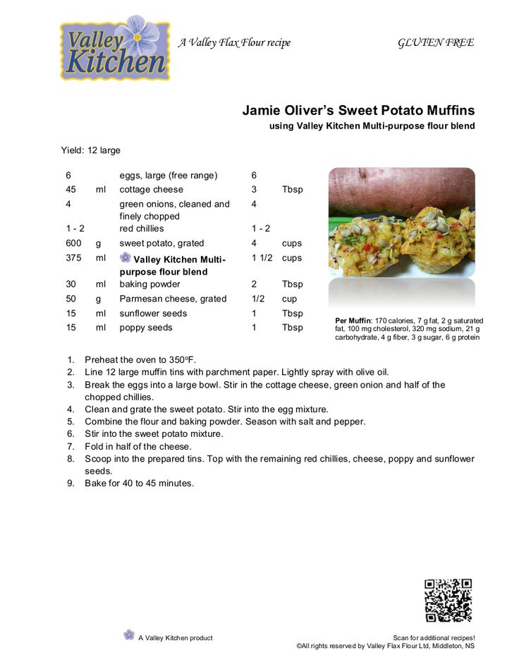 Sweet Potato Muffins using VK MP flour Blend - Jamie Oliver recipe