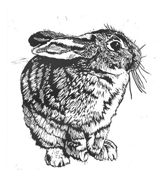 A sweet, chubby bunny rabbit! This item is an original linocut relief print by intaglio press on white Copperplate paper. Your print will be one of an