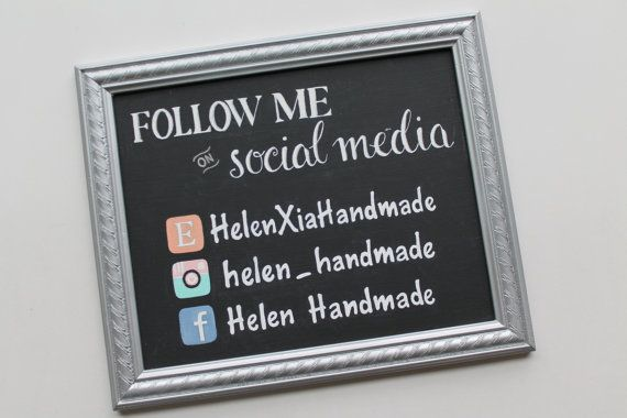 Hand Painted Vendor/Business Social Media Sign | 8 x 10 | Black Chalkboard Finish