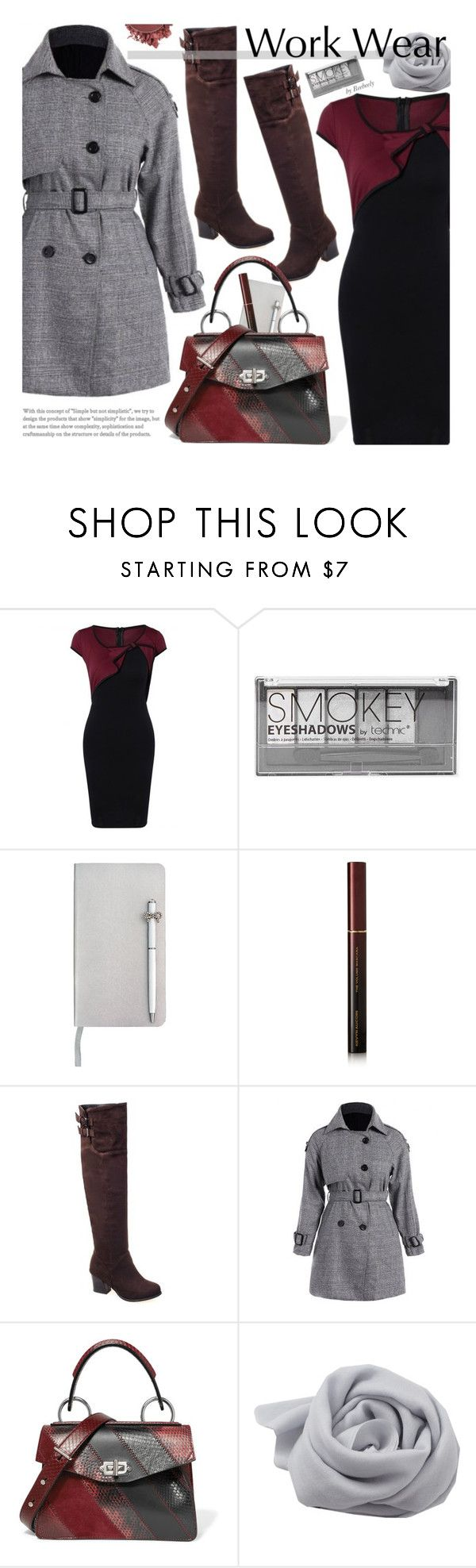 """""""Work Wear"""" by beebeely-look ❤ liked on Polyvore featuring Boohoo, ICE London, Kevyn Aucoin, Proenza Schouler, Bajra, Anastasia Beverly Hills, WorkWear, Boots, trenchcoat and twinkledeals"""