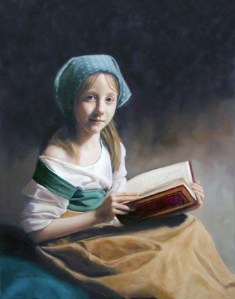 The Sonnet, an oil painting by Thomas Baker showing a little girl reading a book