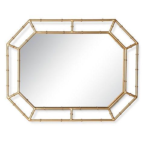Threshold Bamboo Motif Decorative Wall Mirror Gold