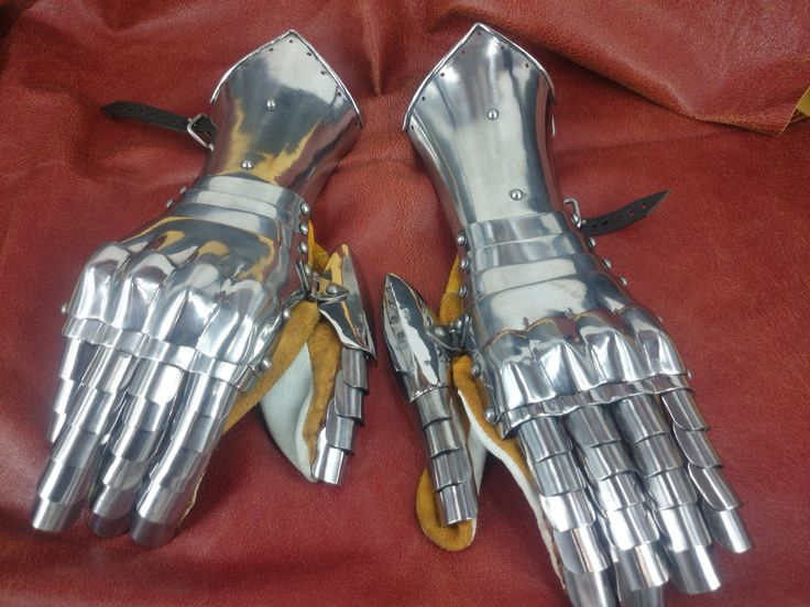 16th Century finger gauntlets. High shine polish. Made from 1mm hardened steel, by Redoubt Forge.