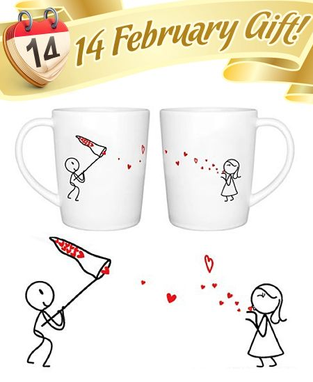 "BoldLoft ""Catch My Love"" His and Hers Coffee Mugs-Valentines Day Gifts for Him for Her, sale price now: $26.95"