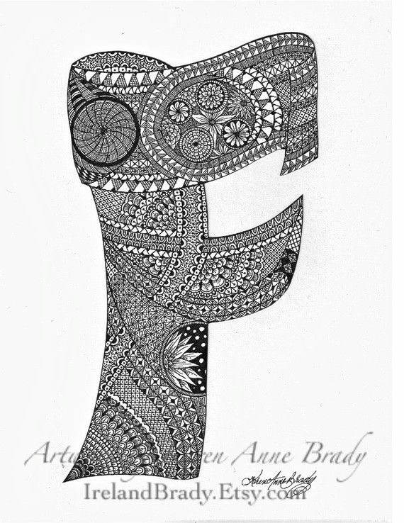 Aceo Alphabet Letter F Zentangle Doodle Initial By