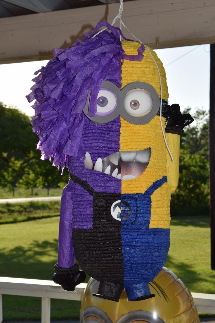 My son's 6th birthday OOAK Purple / Yellow Minion Pinata !! :)