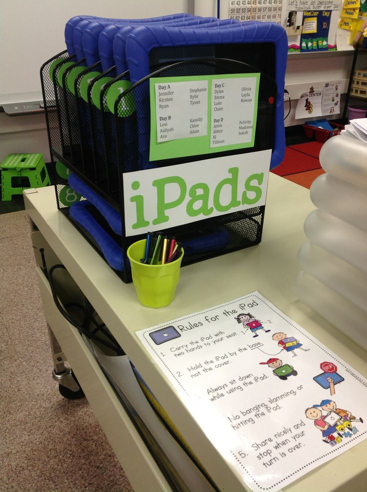 iPad station for my classroom using a file organizer from staples!