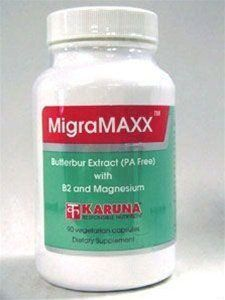 Karuna - MigraMAXX 90 caps by Karuna. $29.92. MigraMAXX 90 caps Dietary Supplement Supplement Facts Serving Size: 3 capsules Servings Per Container: 30 Amount Per Serving: Vitamin B2 (riboflavin) 200 mg Magnesium (aspartate) 600 mg Butterbur (Petasites hybridus) 150 mg (Butterbur extract (15% [petasin + isopetasin]). Purified to remove toxic (PA) pyrrolizidine alkaloids). Other Ingredient: Vegetarian capsule, vegetable stearate. Suggested Use for Adults: One (1) capsule, w...