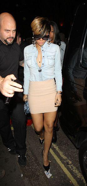 denim skirt with nude bandage skirt