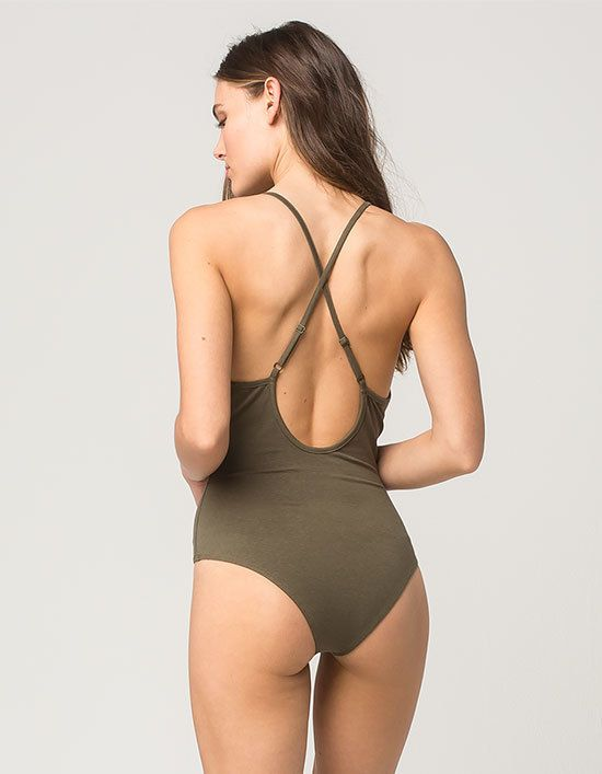 Full Tilt V-Neck Cross Womens Bodysuit