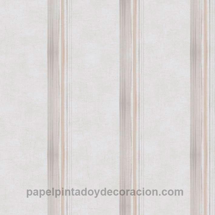 Papel pintado Caselio rayas gris y marrón claras fondo gris claro textura rugosa KDO65491090