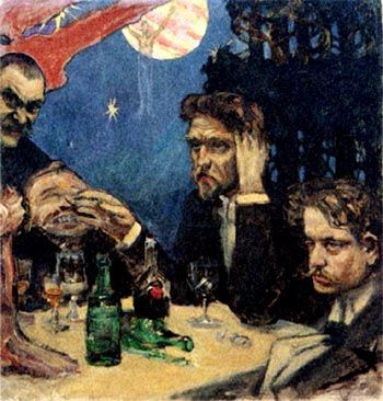 Sibelius (right) and friends at the Kämp - The Symposion years 1892-1897 by Akseli Gallen-Kallela