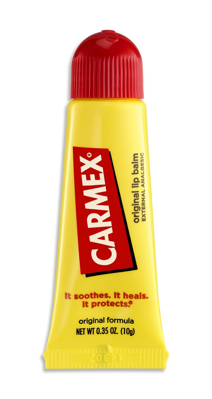 Carmex Original Lip Balm. Always in my purse in a container cause I use the ridges on lid to massage/soften lips
