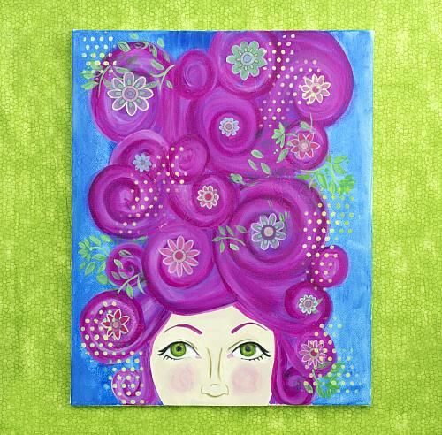 Bubblegum Hair Mixed Media Canvas -- Dive into your imagination with this mixed media creation.  #decoartprojects