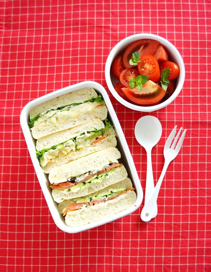 Potato salad and smoked salmon/cheese sandwich bento/ポテトサラダとスモークサーモン&チーズのサンドウィッチ弁当