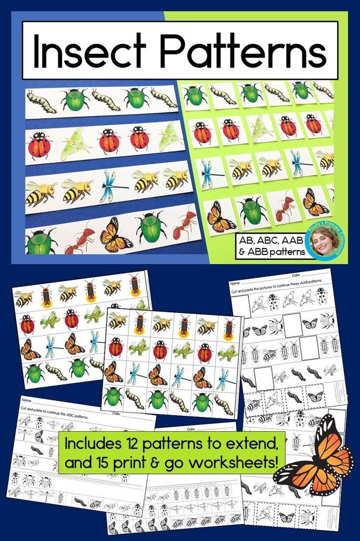 Insect Patterns Math Center With Ab Abc Aab Abb Patterns Abb Patterns Math Center Fun Math Centers [ 1104 x 736 Pixel ]