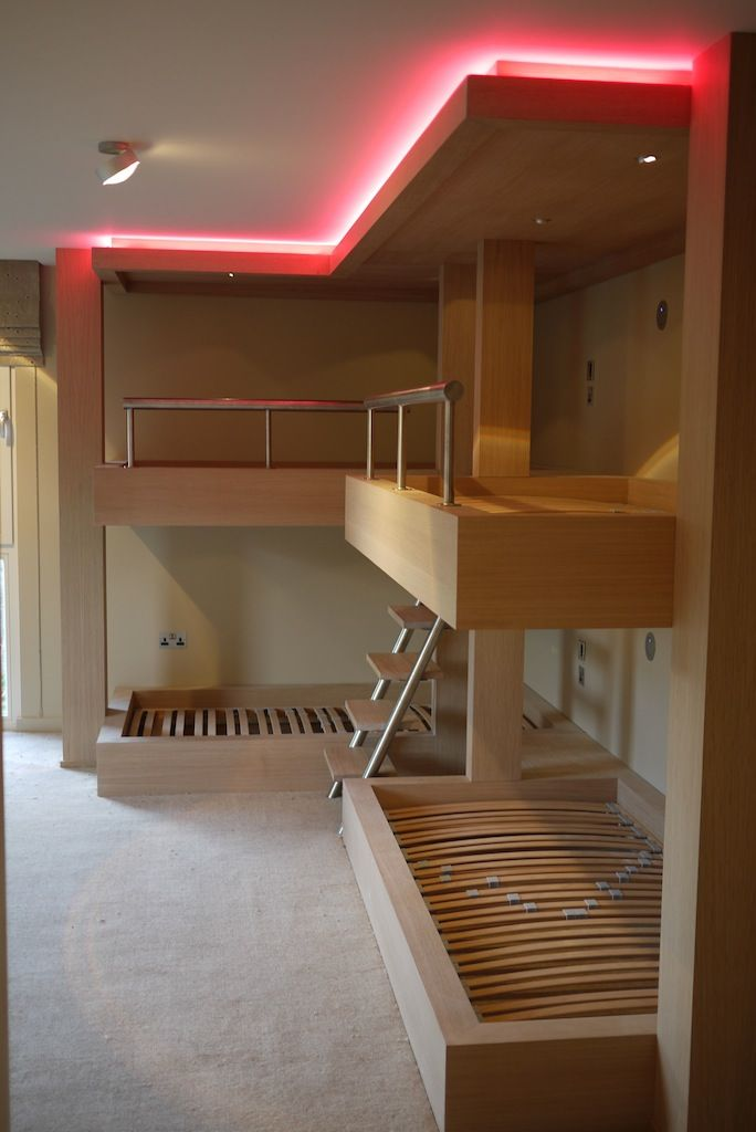 Huge Bespoke Bunk Beds In Limed Oak With Integrated