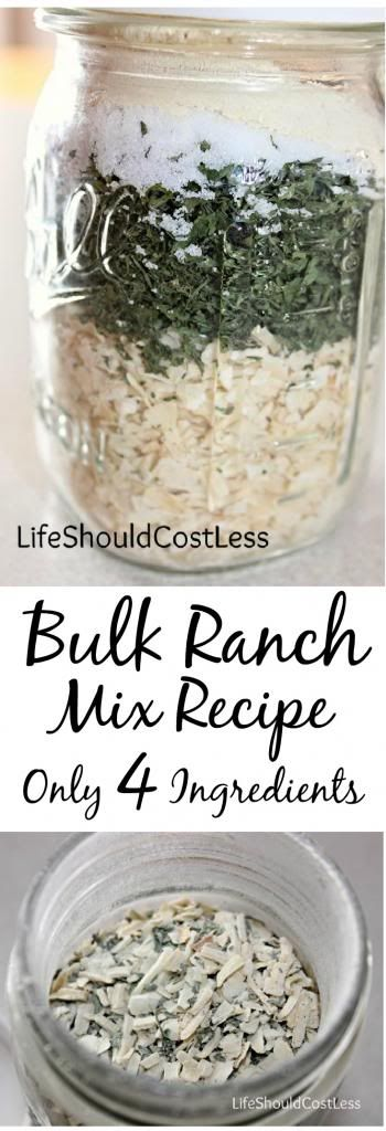 Bulk Ranch Mix Recipe, For Clean Eating. Use it to replace a ranch packet any time a recipe calls for one. It is also a pretty good veggie dip when mixed with Greek Yogurt! {lifeshouldcostless.com}