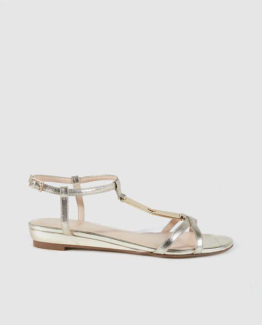 Sandalias planas de mujer Zendra Basic de piel doradas