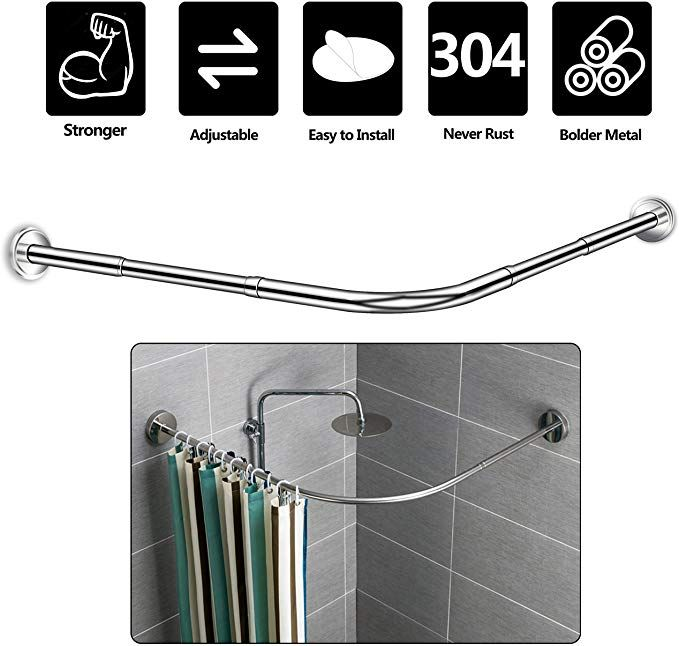 Amazon Com Curved Corner Shower Curtain Rod L Shaped Never Rust