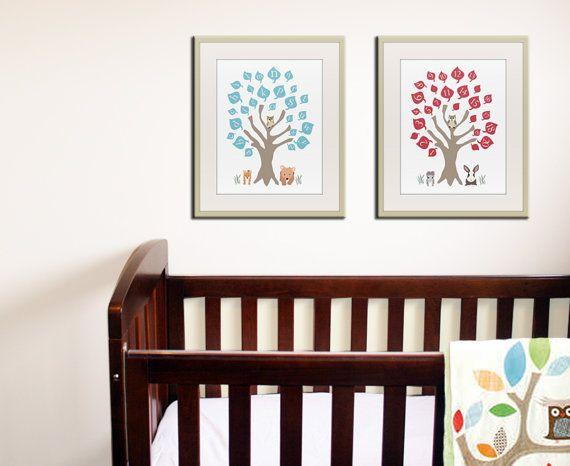 Alphabet print, numbers print woodland owl art print, Baby nursery wall art. ABC nursery decor. 123 print childrens art. 2- 11x14 prints