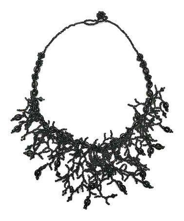 Loving this Black Bead Tassel Bib Necklace on #zulily! #zulilyfinds
