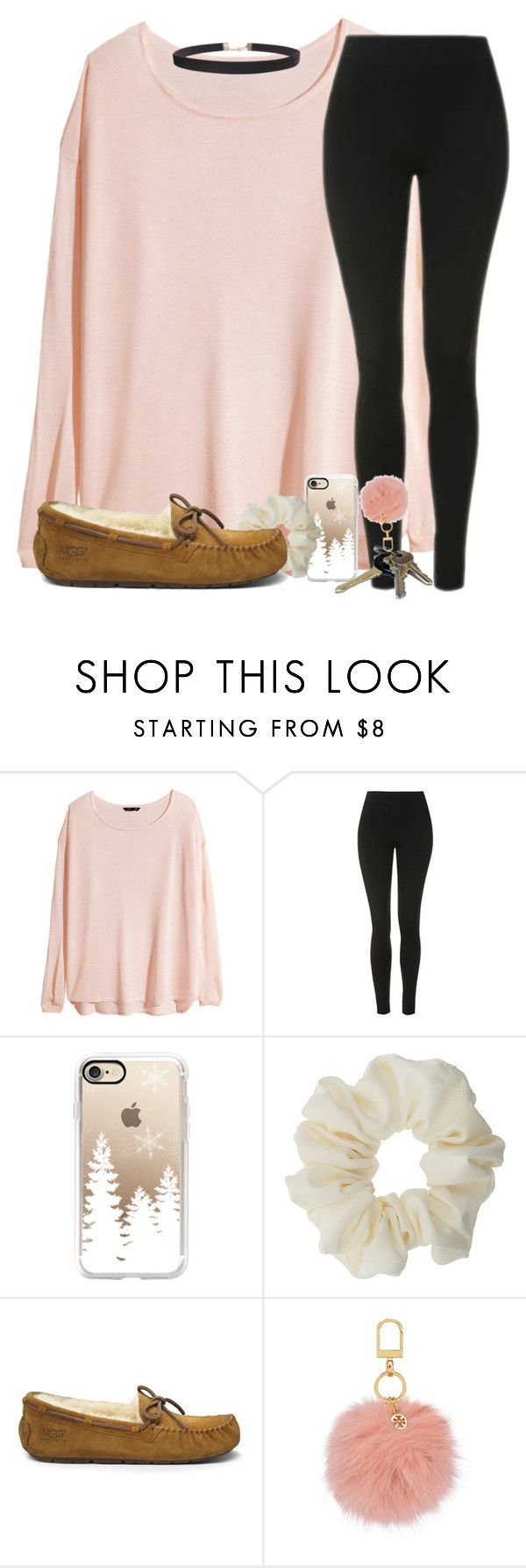 """qotd: what's your favorite christmas tradition?"" by madiweeksss ❤ liked on Polyvore featuring H&M, Topshop, Casetify, Miss Selfridge, UGG Australia, Avon, Tory Burch and Humble Chic"