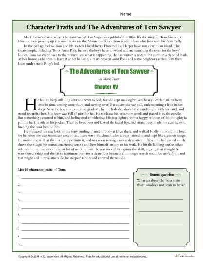 Free, Printable Character Traits Worksheet - The Adventures of Tom Sawyer