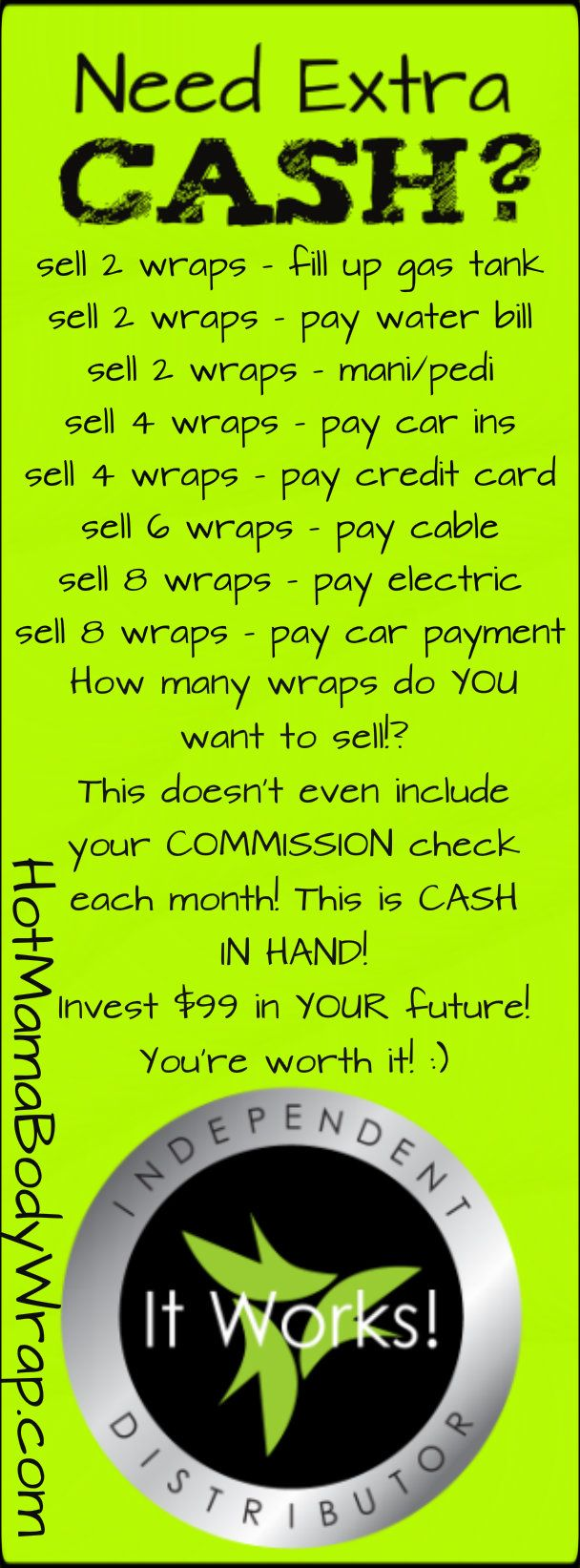 Did you know you can SELL that Crazy Wrap Thing and make extra money? Maybe even make a CAREER out of it! Want to stay home with your kids? Quit working for someone else? Work for yourself? When you join the WRAPPERS WITH SWAGGER team, you get discounted product, the rights to sell, and a TEAM that wants you to succeed! Let me help you!  Join the TEAM by clicking the pin or get more info here --  http://hotmamabodywrap.com/become-an-it-works-distributor