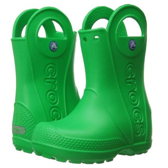 Toddler Crocs Rain Boots Synthetic sole Easy-on rain boot with large pull handles and grippy sole Fully molded Croslite material for lightweight cushioning and comfort Reflective heel logo Waterproof Handles for easy pull on function crocs Shoes