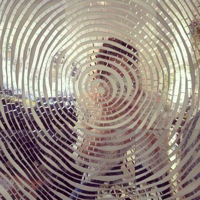 selfie in silver tree rings / reflective tape / new work in progress.... cheryl sorg fine art - bookworks, custom thumbprint portraits and more