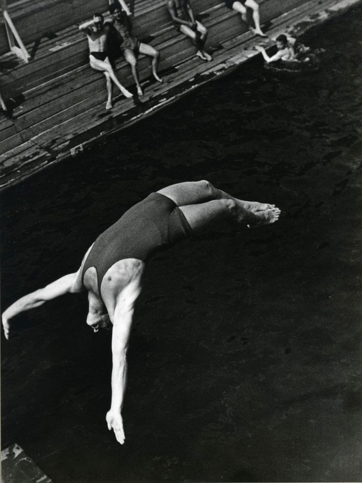 Diver, 1934, photo by Alexander Rodchenko | backflip | jump | dive | 1930s | swimming costume | black & white | vintage | bathers through the ages | jump |